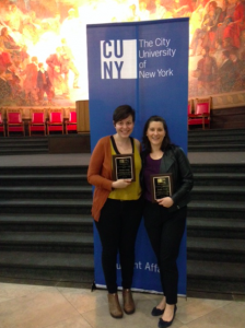 Jennifer Prince (right) and Christina Nadler after receiving their Excellence in Leadership Awards, May 13, 2016.